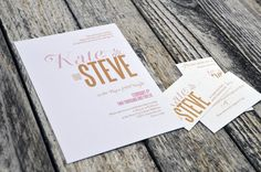 custom wedding invitation suite. pink & gold in modern elegance #invitation #wedding #custom #modern #elegant #pink #gold