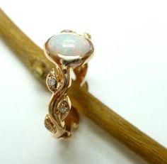 Engagement ring  Opal engagement ring  Leaf by ValerieKStudio, $785.00