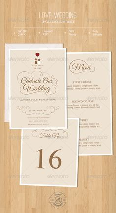 Love Wedding Invitation Set — Photoshop PSD #wedding card #shape • Available here → https://graphicriver.net/item/love-wedding-invitation-set/5716188?ref=pxcr