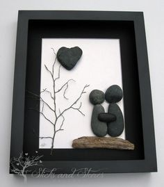 Unique Engagement Gift- Personalized COUPLE gift,  Valentine's Day Gift -  Pebble Art - Love Gifts, $80.00