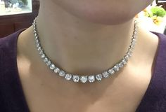 Large Diamond Gold Graduated Riviere Necklace For Sale at 1stdibs
