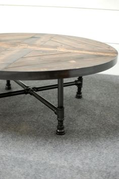 Round Industrial Coffee Table W/ Shelf By Sumsouthernsunshine   Furniture    Pipe   Pinterest   Industrial, Shelves And Coffee