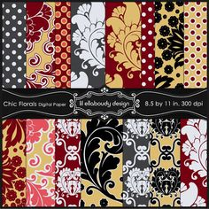 Chic florals digital papers