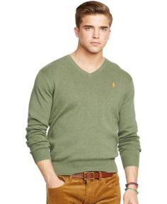 Polo Ralph Lauren Pima V-Neck Sweater - Lovvete Heather Green L