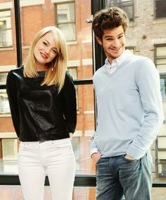 Emma Stone and Andrew Garfield/ first, how adorable are they? Second, his *face*. What even, Andrew? Haha.