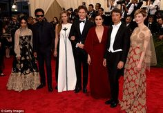 What a line up: The couple then posed with Lenny Kravitz, his former wife Lisa Bonet, Mari...