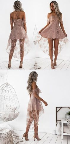 A-Line Spaghetti Straps Hi-Lo Blush Lace Homecoming Dress