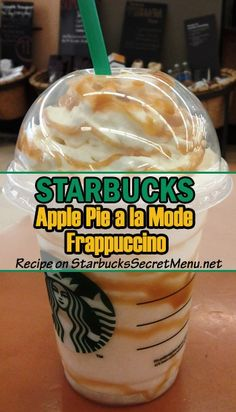 Starbucks Apple Pie a la mode Frappuccino - - What better way to eat pie is there than a la mode? Well it also happens to be delicious way to enjoy a Frappuccino! Starbucks Secret Menu Items, Starbucks Hacks, Starbucks Secret Menu Drinks, Frappuccino Recipe, Starbucks Frappuccino, Starbucks Coffee, Bebidas Do Starbucks, Keto, Coffee Recipes