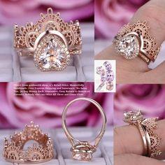 Heart Morganite Engagement Ring Sets Tiara Wedding Ring 14K Rose Gold 8mm
