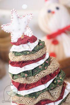 Látkový stromek Handmade yo yo christmas tree