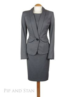 NEXT PENCIL SKIRT SUIT SIZE 16 12 10 GREY DOTTY 1950S 50S STYLE WOMENS LADIES