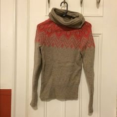 """Cowl Neck Winter Sweater Brown with red accent wool sweater. Cowl neck. Very """"holiday-y"""" without being actually Christmas-y! Willing to negotiate prices GAP Sweaters Cowl & Turtlenecks"""