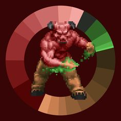 Baron of Hell . Doom . id Software . 1993 . #game #colorwheel #color #palette #colorscheme #pixelart #doom #baronofhell #id #shooter #characterdesign #retrogames #gameart #digitaldesign #graphicdesign #webdesign