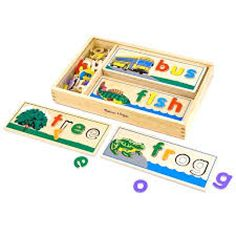 This See & Spell Puzzle Set by Melissa & Doug is perfect! Pre Reading Activities, Montessori Activities, Learning Activities, Preschool Classroom, Toddler Preschool, Toddler Playroom, Learning Toys, Early Learning, Wooden Educational Toys
