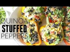 These Quinoa Stuffed Peppers with Vegan Jalapeno Cream Sauce are healthy and satisfying. Perfect meal prep lunch or dinner!