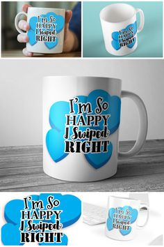 Blue Hearts I'm So Happy I Swiped Right Tinder Mug #tindergift #swiperight #tindercoffeemug #bluehearts #prandski
