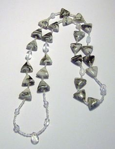 Black and White Marbled Porcelain Triangle Bead Necklace by tzteja, $20.00