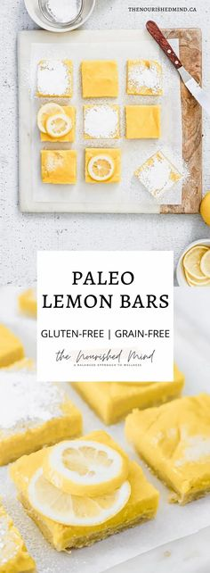 These healthy bars are everything a lemon bar should be: sweet, tart and super tasty. Grain-free and gluten-free, with minimal ingredients! Get your bake on | The Nourished Mind Gluten Free Treats, Paleo Treats, Gluten Free Baking, Dairy Free Recipes, Paleo Recipes, Baking Recipes, Coconut Desserts, Sugar Free Desserts, Vegan Desserts