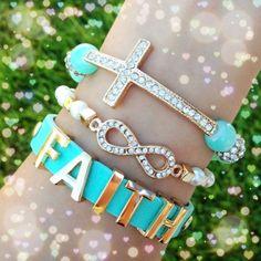Art of three separate bracelets. Adjustable/elastic stretch.