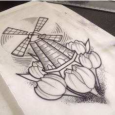 Tulip windmill tattoo for Holland Dad Tattoos, Sweet Tattoos, Time Tattoos, Sister Tattoos, I Tattoo, Cool Tattoos, Windmill Drawing, Windmill Tattoo, Dutch Tattoo