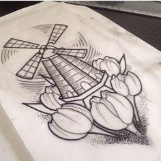 Tulip windmill tattoo for Holland Dad Tattoos, Sweet Tattoos, Time Tattoos, Sister Tattoos, I Tattoo, Cool Tattoos, Windmill Tattoo, Windmill Drawing, Dutch Tattoo