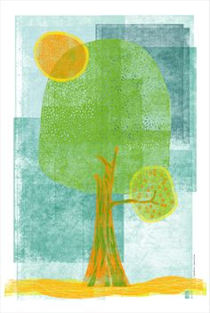 A Árvore do Sol I Iustração manual e tratada digitalmente