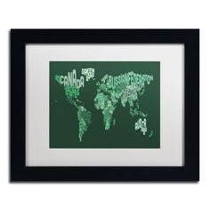 'Text Map of the World' by Michael Tompsett Framed Graphic Art