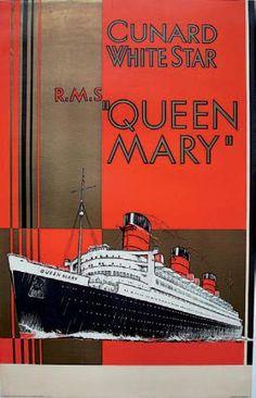 """CUNARD WHITE STAR R.M.S """"QUEEN MARY"""". Circa 1936"""