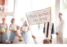 Burlap Here Comes the Bride Banner, Photo Prop, Sign