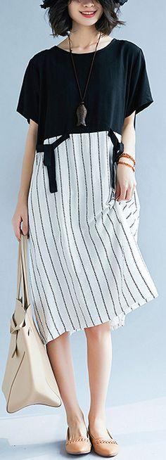 e1f02ecb3c4242 boutique black patchwork white cotton maxi dress trendy plus size striped  maxi dress Elegant short sleeve gown