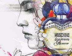 """Check out new work on my @Behance portfolio: """"Moschino perfume illustration"""" http://be.net/gallery/49263305/Moschino-perfume-illustration #moschino #toujuors #glamour #parfume #fashion #watercolor #face #girl #flowers #podessto"""