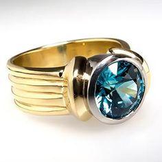 4 Carat Blue Zircon Cocktail Ring 18K Gold & Platinum