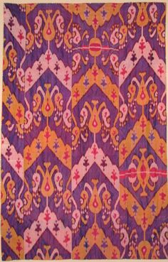 Early 20th century silk ikat panel, Uzbekistan. | From a unique collection of antique and modern tapestries at http://www.1stdibs.com/furniture/wall-decorations/tapestry/