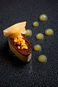Roast foie gras with pickled plums