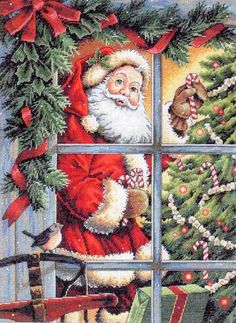 """Скачать Вышивка """"Candy Cane Santa"""" kostenlos. А также другие схемы вышивок в разделах: Sankt Klaus, Größe, Neujahr, Weihnachten, Märchenfiguren"""