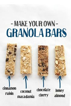 Make your own granola bars! These are soft, chewy, and have SO many yummy variations (Gluten free, vegan, and naturallysweetened!) is part of Granola recipe bars - Healthy Granola Bars, Chewy Granola Bars, Healthy Snacks, Best Granola Bars, No Bake Granola Bars, Snacks List, Healthy Bars, Healthy Recipes, Nutritious Meals