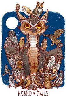 Unusual Dragon Hoards-Owls-by Lauren Dawson