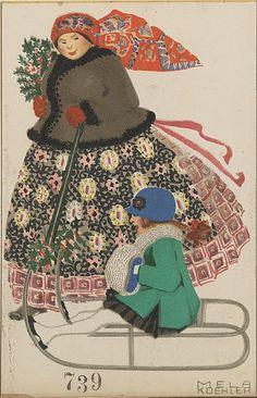 Merry Christmas! (Fröhliche Weihnachten!) Mela Koehler (Austrian, Vienna 1885–1960 Stockholm) Publisher: Published by Wiener Werkstätte Date: ca. 1907/8–14 Medium: Color lithograph Dimensions: sheet: 5 1/2 x 3 9/16 in.