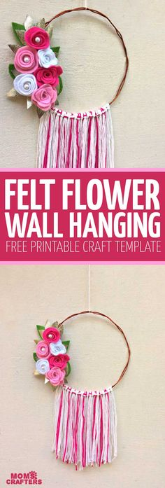 Make this beautiful DIY felt flower wreath or wall hanging for Spring – it's a super cool Spring craft for tweens and teens – and grown-ups too! This floral Spring and Summer home decor comes with a free printable template to make your own felt flowers Crafts For Girls, New Crafts, Diy Crafts To Sell, Arts And Crafts, Diy Projects For Tweens, Felt Projects, Sewing Projects, Felt Flower Wreaths, Felt Flowers