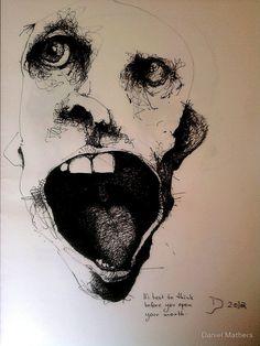 'before you open your mouth' by Daniel Mathers Creepy Art, Weird Art, Arte Horror, Horror Art, Art Sketches, Art Drawings, Arte Indie, Posca Art, Kunst Tattoos