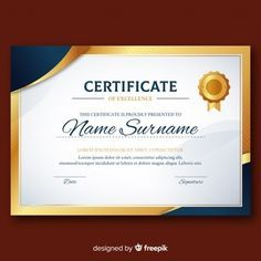 Vectors Elegant diploma template with golden elements Free Vector Certificate Layout, Certificate Of Participation Template, Certificate Background, Certificate Border, Certificate Design Template, Free Certificates, Resume Design Template, Food Graphic Design, Certificate Of Appreciation