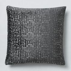 Allover Crosshatch Jacquard Velvet Pillow Cover - Slate #westelm