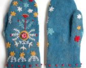 Excuisite mittens (custom order only) wool felt from Etsy: Dadaya.  Very pricey at $180.  coordinating Beret for $200-480 range.