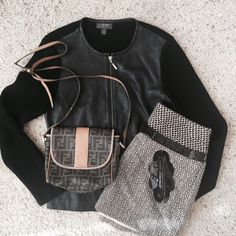 """Classiques Leather Cardigan Sweater Black zip front genuine leather combo sweater cardigan. Size small measures 17"""" flat bust, length is 22.5"""", sleeve is 23.5"""". Content is 100% leather , sleeves are 100% merino wool. In excellent condition . No trades. Classiques Entier Sweaters Cardigans"""