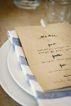 diy paper bag menu--could we do a simple handwritten or stamped program on Brown Paper Bag? Too cheap or cute enough? Wedding Menu, Farm Wedding, Wedding Ideas, Wedding Tables, Wedding Reception, Wedding Foods, Wedding Blue, Wedding Dinner, Wedding Vintage