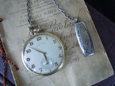 Vintage Hamilton 14K Gold Filled Pocket Watch in Original Case with Silver Clip and Historical Note