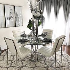 We're gaga over this ultra chic + modern yet inviting new dining look for Happy Sunday everyone! Shop in store for your fav… Dining Room Table Decor, Dining Room Design, Interior Design Living Room, Room Decor, Affordable Modern Furniture, Affordable Home Decor, Living Room Colors, Decoration, Happy Sunday