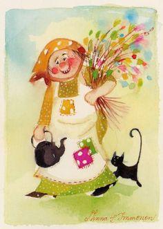 Postcrossing postcard from Finland Black Cat Art, Love Art, Vintage Art, Glass Art, Whimsical, Illustration Art, Clip Art, Cards, Drawing