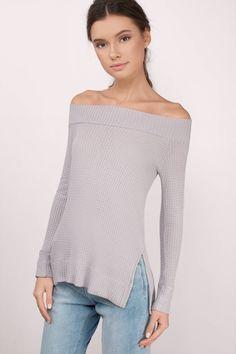 Don't Let Go Off Shoulder Waffle Knit Top at Tobi.com #shoptobi
