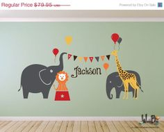 Circus Elephants Giraffe Lion Balloons Name Decal, Vinyl Wall Decal for Nursery, Kids, Childrens Room